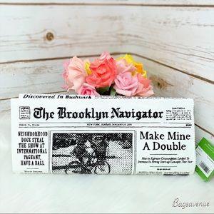 Kate spade newspapers glitzy ritzy clutch grey